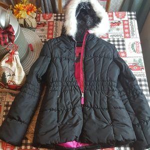 Girls London Fog Winter Coat NEW 14/16 Black Pink